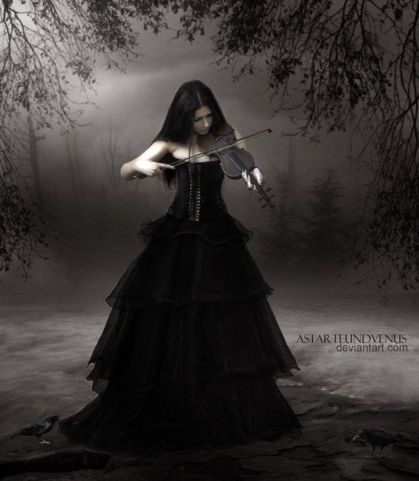 girl, violin, forest