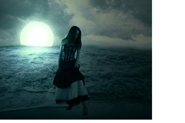 dark night, alone, creepy, moon, shadow, dark world, girl