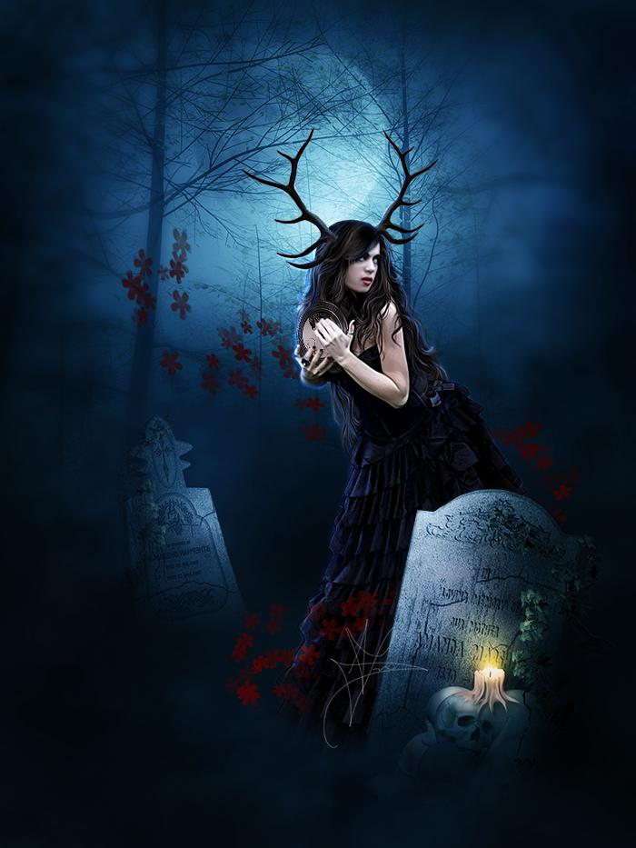 girl, graveyard, moon, forest