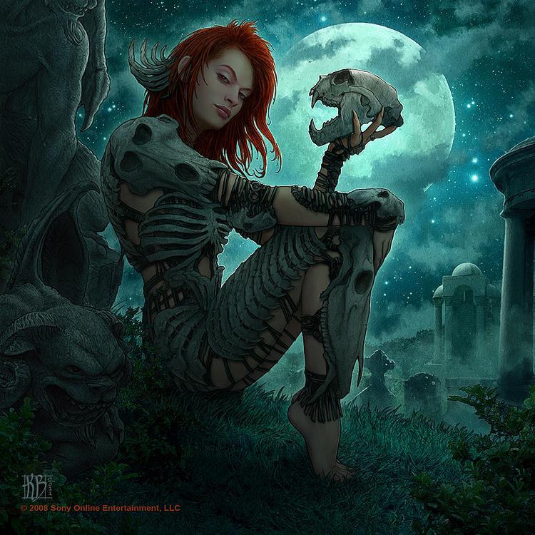 dark beauty, dark art, dark world, moon, girl