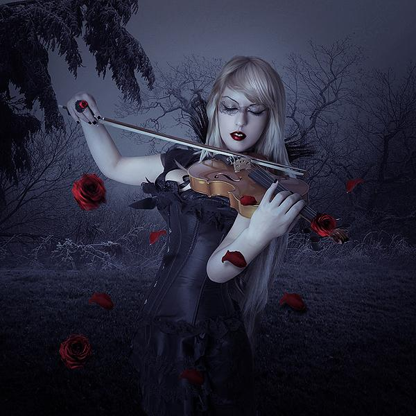 sad, alone, violin, girl, dark beauty