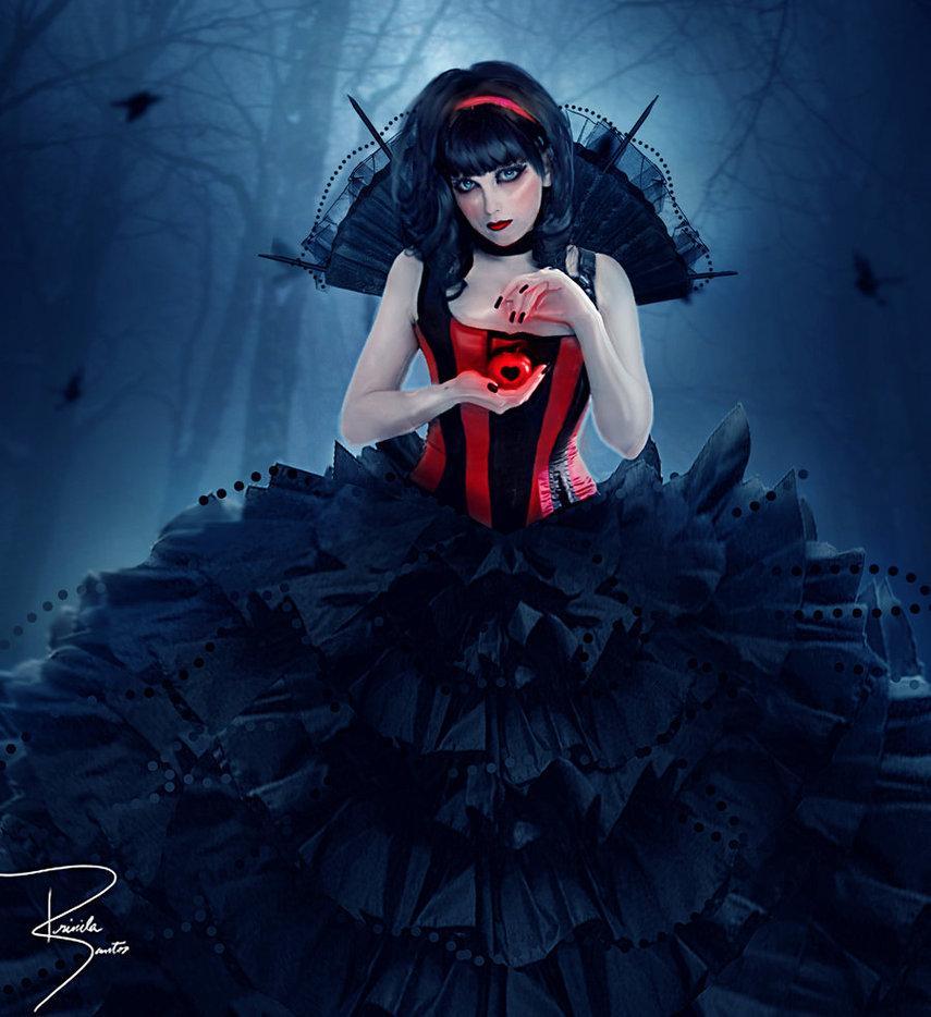 creepy, dark beauty, scary, heart, girl