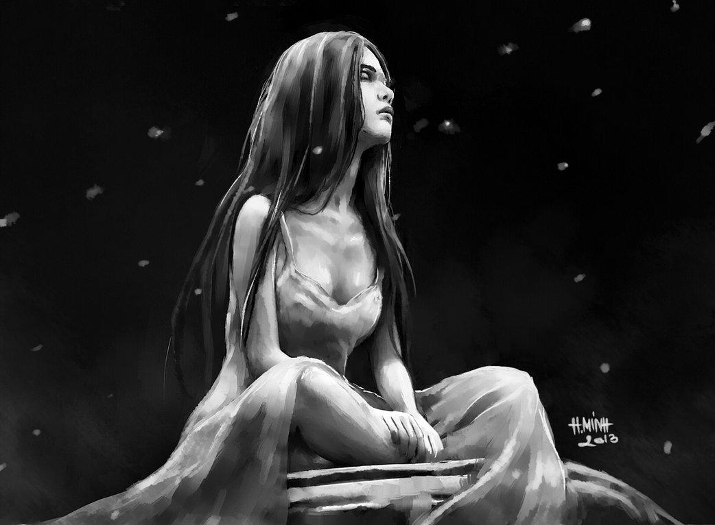 devil, girl, alone, darkness, dark art