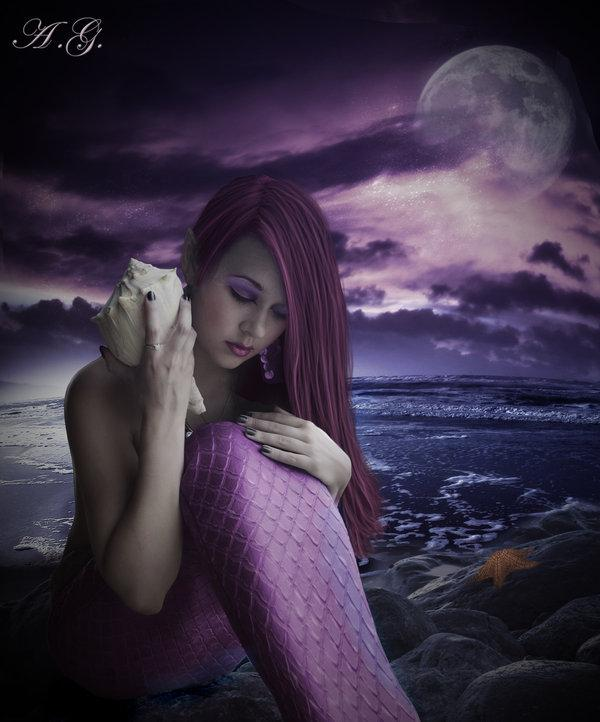 sad beauty, night, sea, mermaid, dark beauty, girl