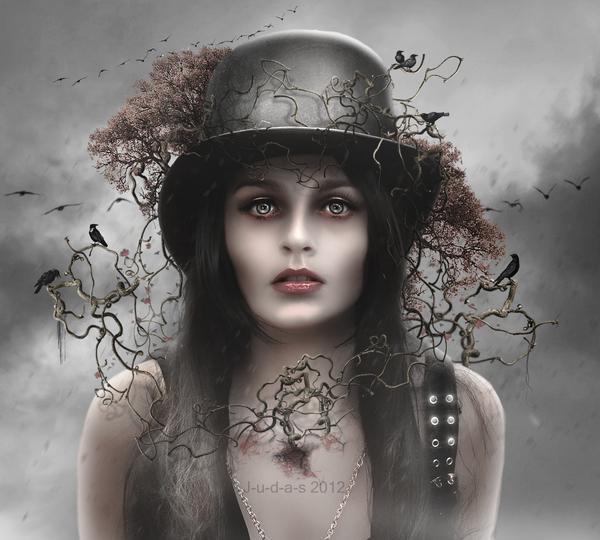dark, season, creepy, horror, girl