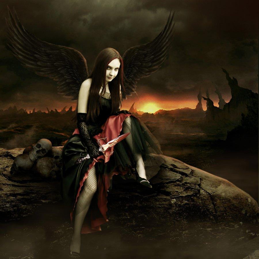 angel, dark, girl, blood, knife