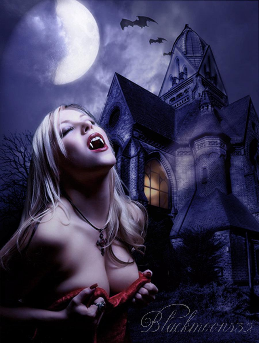 vampire, castle, moon, girl