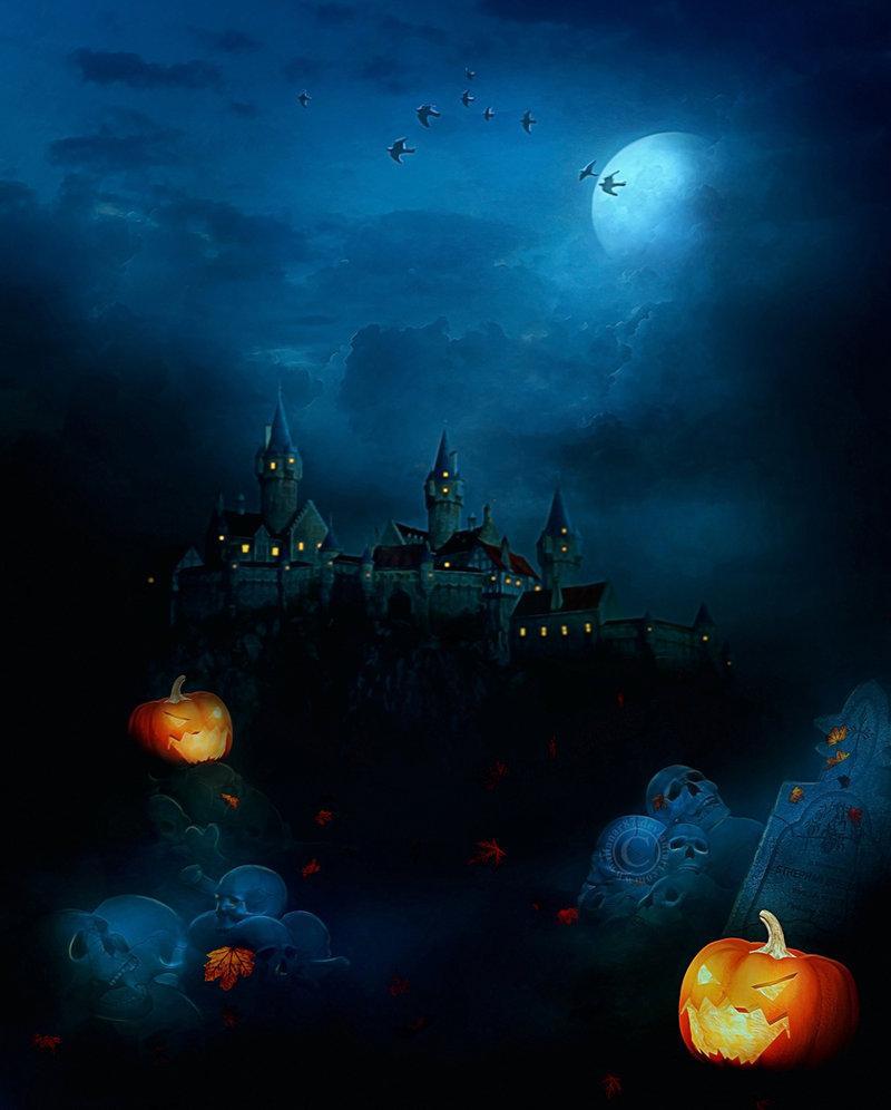 castle, moon, halloween