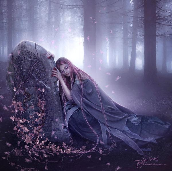 grave, death, dark art, girl