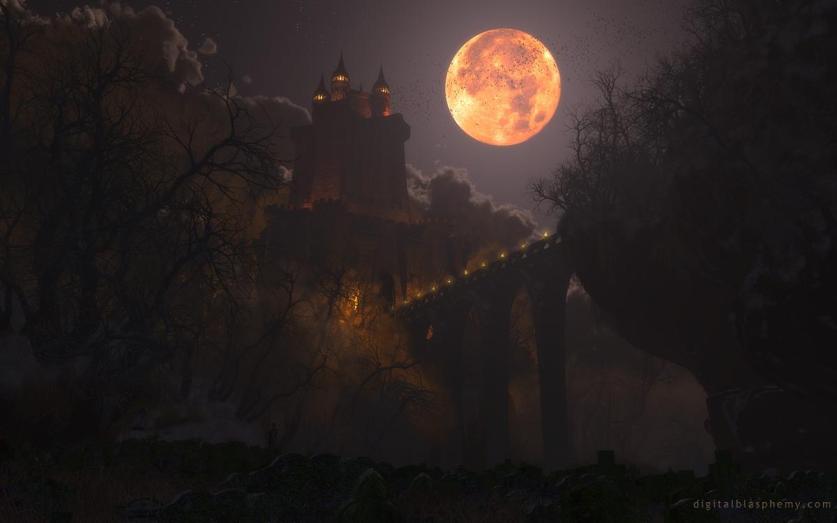 moon, castle, dracula