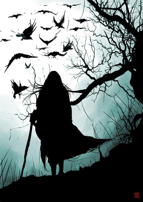darkness, crow, creepy