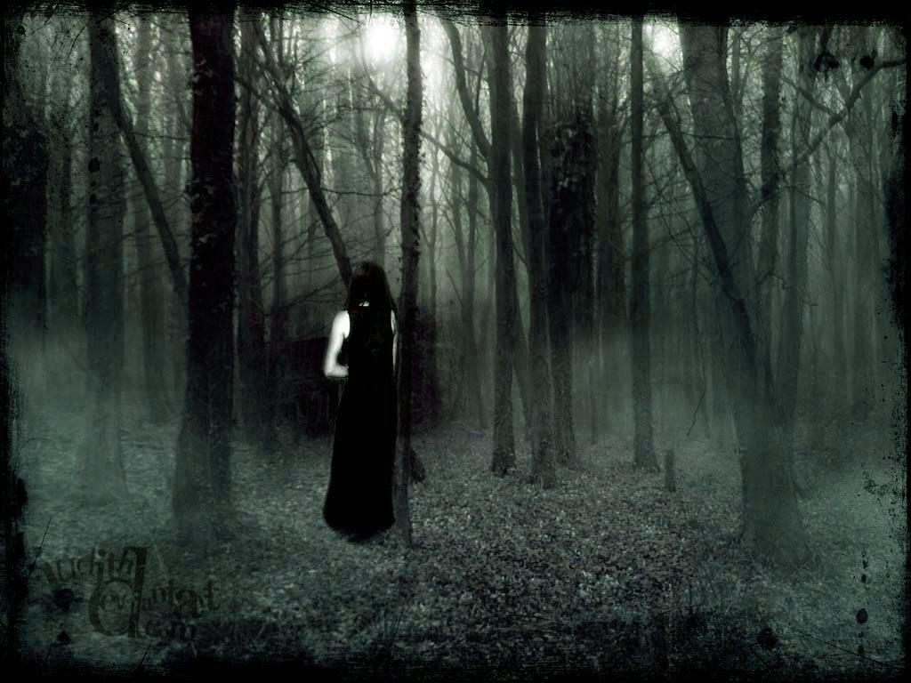 forest, girl, creepy
