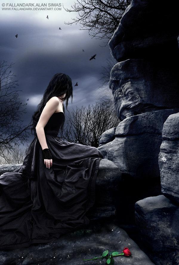 girl, sad, dark art, rose