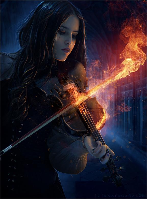 girl, dark, night, fire
