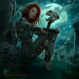dark beauty, dark art, dark world, moon, girl