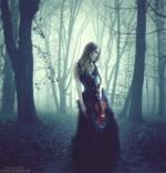 violin, girl, forest