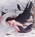 crow, angel, girl, animal